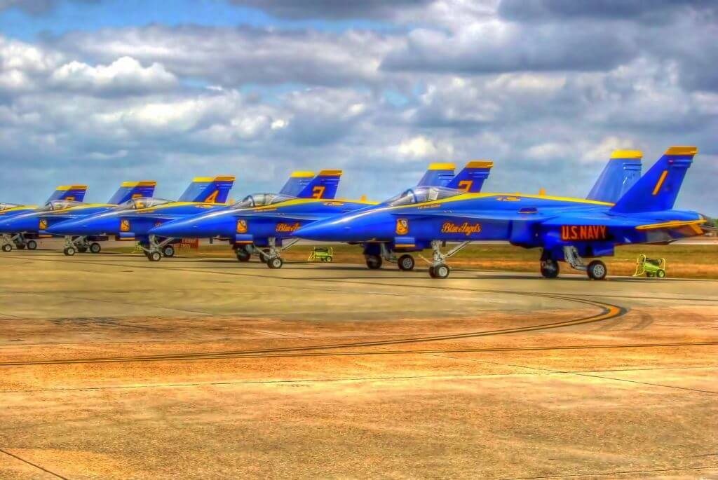 Six Blue Angel Planes by Jim Sweida at Blue Morning Gallery