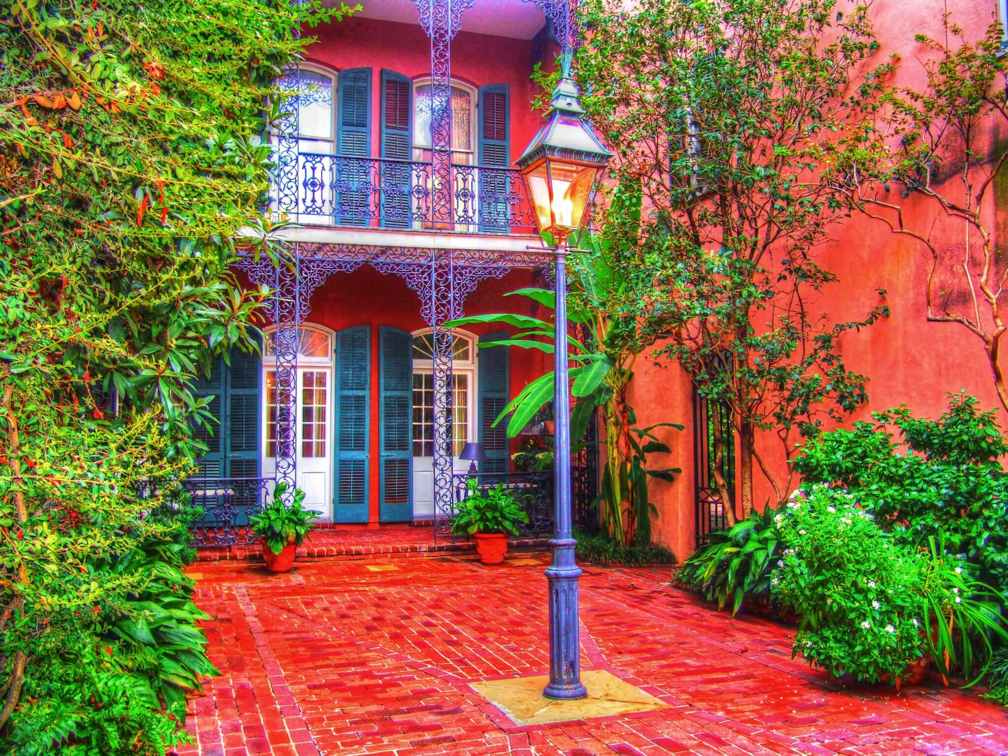 Colorful courtyard by Jim Sweida at Blue Morning Gallery