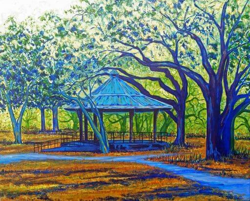 Seville Park painting by Mary Anne Sweida at Blue Morning Gallery
